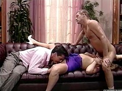 Sexy blonde fucked by two blokes right here