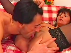 Horny mature in black stockings laid