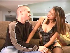 Gorgeous Iris gets licked and fucked hard on the sofa