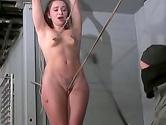 Skinny sweetheart bound in dungeon