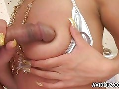 Beautiful Asian chick smothered with cock on her face