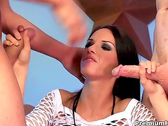 Lascivious brunette Jennifer Dark is a dp queen