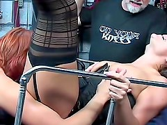 Sexy dungeon bondage and pain play