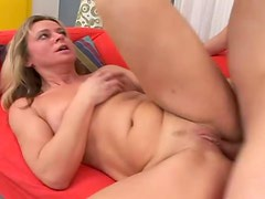 Horny blond milf gets on top of him and rides him hard