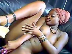 Arousing dildo sex with black girl