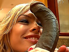 Spectacular Blonde Babe Has Some Interracial Fun With a Big Black Cock