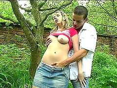 Naturally Busty Blonde Teen Sucks and Fucks a Big Cock In The Woods