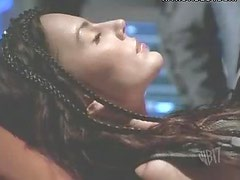 Krista Allen Resting With a Crazy Costume On