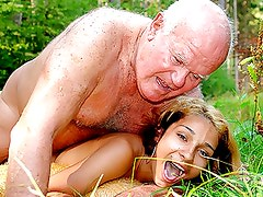 Horny Latina Teen Gets her Tight Pussy Fucked By an Old Fart Outdoors