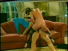 Brunette Babe Gets Her Hairy Pussy Fucked and Jizzed On in a Retro Porn Scene