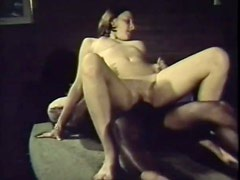 Retro Brunette Babe Sucks and Fucks a Big Black Cock