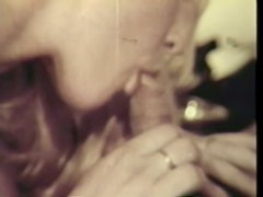 Retro Blonde Anna Travers Sucking and Fucking Two Cocks at the Same Time