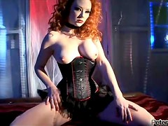 Audrey Hollander the sexy redhead babe gets double penetrated