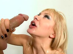 Milf cock eater with cum on her face