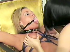 Naughty brunette in black panties wants to punish her helpless blonde