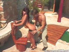 Naughty Brunette Chick Gets Fucked on her Way to the Pool