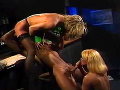Rocco Siffredi fucks two sexy vintage blondes in a bar
