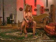 Submissive Blonde Gets Her Hot Ass Whipped By Redhead Dominant Lesbian