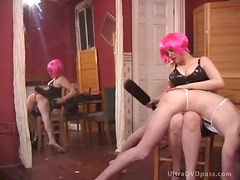 Busty Dominatrix In Latex Outfit Spanks Her Sex Slave With a Bondage Paddle