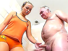 Small Dicked Old Man Is Lucky Enough To Fuck and Facialize a Hot Blonde