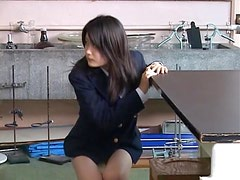 Kinky Asian Teen Takes Off Her School Uniform and Her Panties in the Lab