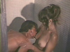 Vintage Brunette Babe Sucks Cock and Gets Fucked in the Shower