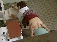 Asian Schoolgirl Getting Fucked in a Public Restroom