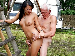 Beautiful Brunette Teen Gets Banged By an Old Man Outdoors