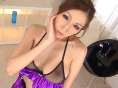 Buxom Asian Babe Julia Sucks and Tit Fucks a Dick Wearing Lingerie
