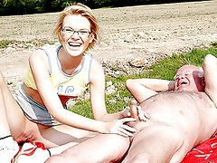 Glassed Blonde Teen Masturbates and Then Fucks an Old Man Outdoors