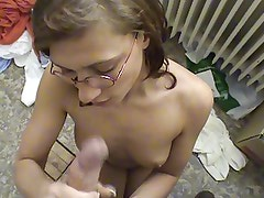 nerdy german girl gives handjob blowjob takes cum mouth