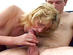 Blonde Granny in Glasses Fucks Boy