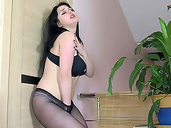 Brunette on Stockings Stripping for You!