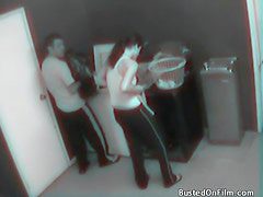 Laundry room fuck caught on security camera