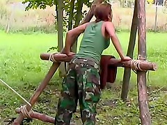 Military girl caned for punishment