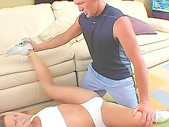Watch hot blonde girl work out