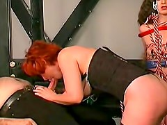 Redhead with sexy tits loves kinky BDSM sex