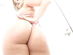 Hot blonde oiled up