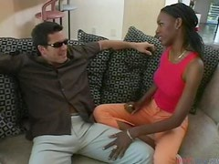 Sexy ebony girl gets fucked hard by White guy