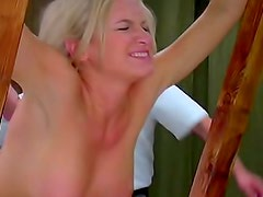 Blonde whimpers as she is whipped