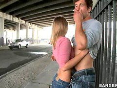 Cute Blonde Autumn Briggs Blowjobs Under the Bridge