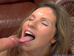 Pretty Samantha Rose blows a cock and gets facialed.