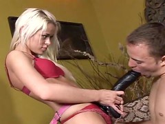 Sexy blonde Rebecca Blue makes a guy suck her dildo and destroys his ass with it