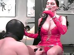 Kinky latex dress on dominant mistress