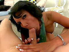 She sucks cum load right out of his cock