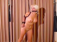 Fat man binds sexy blonde submissive