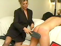 Ass in black lace boyshort panties spanked