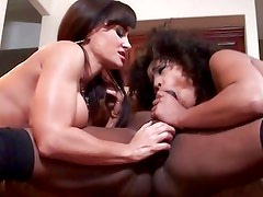 Lisa Ann and Misty Stone drool over this stiff cock