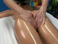 Brunette babe gets oiled up and sucks