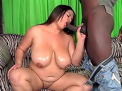 Fat chick and her black lover bang